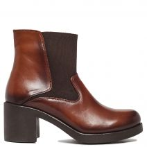 Brown leather high heel bootie
