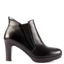 Black leather high heel bootie