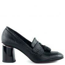 Μαύρο δερμάτινο ψηλοτάκουνο loafer