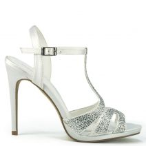 White bridal sandal with rhinestones
