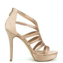 Nude bridal sandal with rhinestones