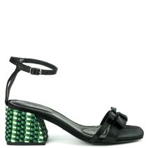 Black satin sandal with bow