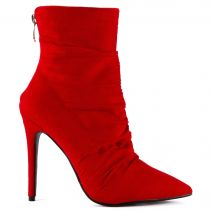 Red high heel bootie with pleates