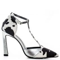 Black and white pump with T-bar