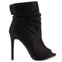 Black peep toe high heel bootie