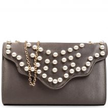 Khaki satin envelope with pearls