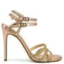 Nude high heel sandal with rhinestones