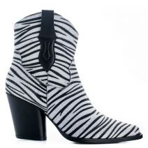 Black and white zebra print western bootie