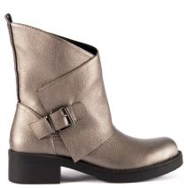 Pewter army boot with zipper