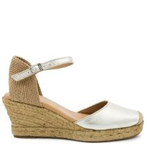 Beige leather espadrille