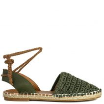 Green leather knitted espadrilles