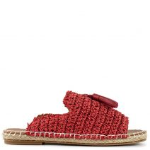 Red knitted espadrille