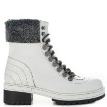 White leather army boot with fur