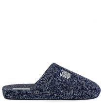 Men's dark blue knitted slipper