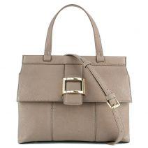 Taupe handbag with flap