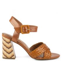 Tobacco leather high heel sandal