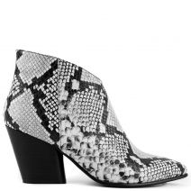 Black and white western boot