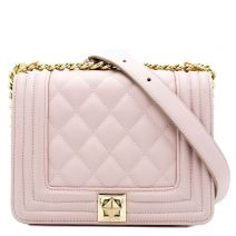 Nude quilted shoulder bag