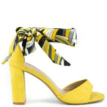 Yellow suede sandal with ribbon