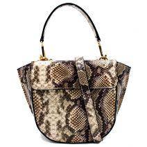 Μπεζ τσάντα με υφή φίδι