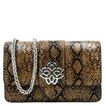Brown snakeprint shoulder bag