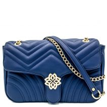 Navy quilted bag with buckle