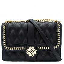 Black quilted bag with buckle