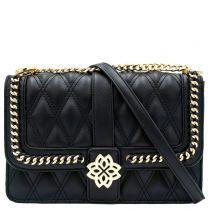 Μαύρη καπιτονέ τσάντα με αγκράφα