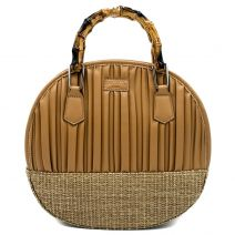 Beige round handbag with pleats