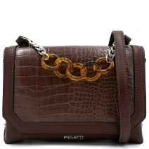 Brown croco crossbody bag