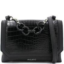 Μαύρη κροκό τσάντα crossbody