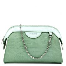 Mint green croco crossbody bag