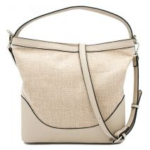 Beige linen hobo bag