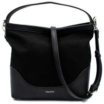 Black linen hobo bag