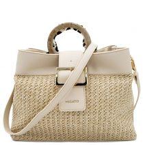 Beige straw shoulder bag