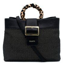 Μαύρη τσάντα με ψάθινη πρόσοψη