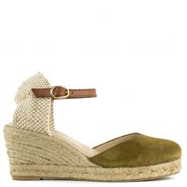 Khaki leather espadrille