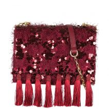 Burgundy shoulder bag with sequins