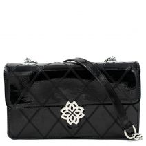 Black patent quilted shoulder bag