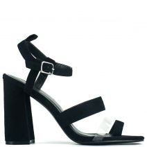 Black high heel sandal with pvc