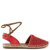 Red leather knitted espadrilles