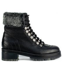 Black leather army boot with fur