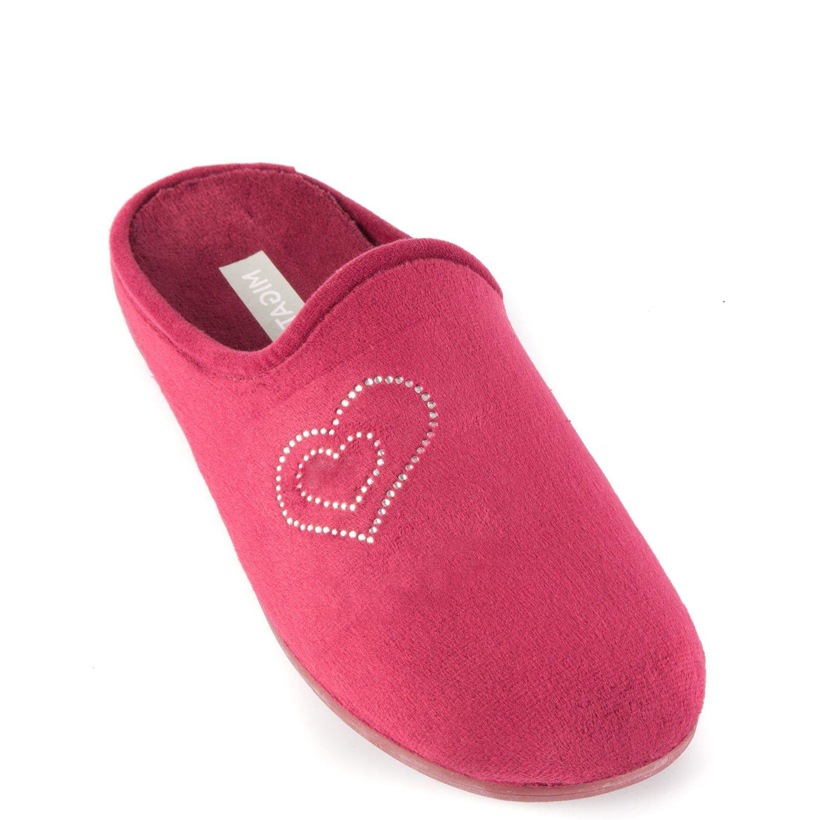 Μπορντώ παντόφλα με καρδιές στρας CD13106-L09 < Γυναικείες Παντόφλες  Σπιτιού   MIGATO