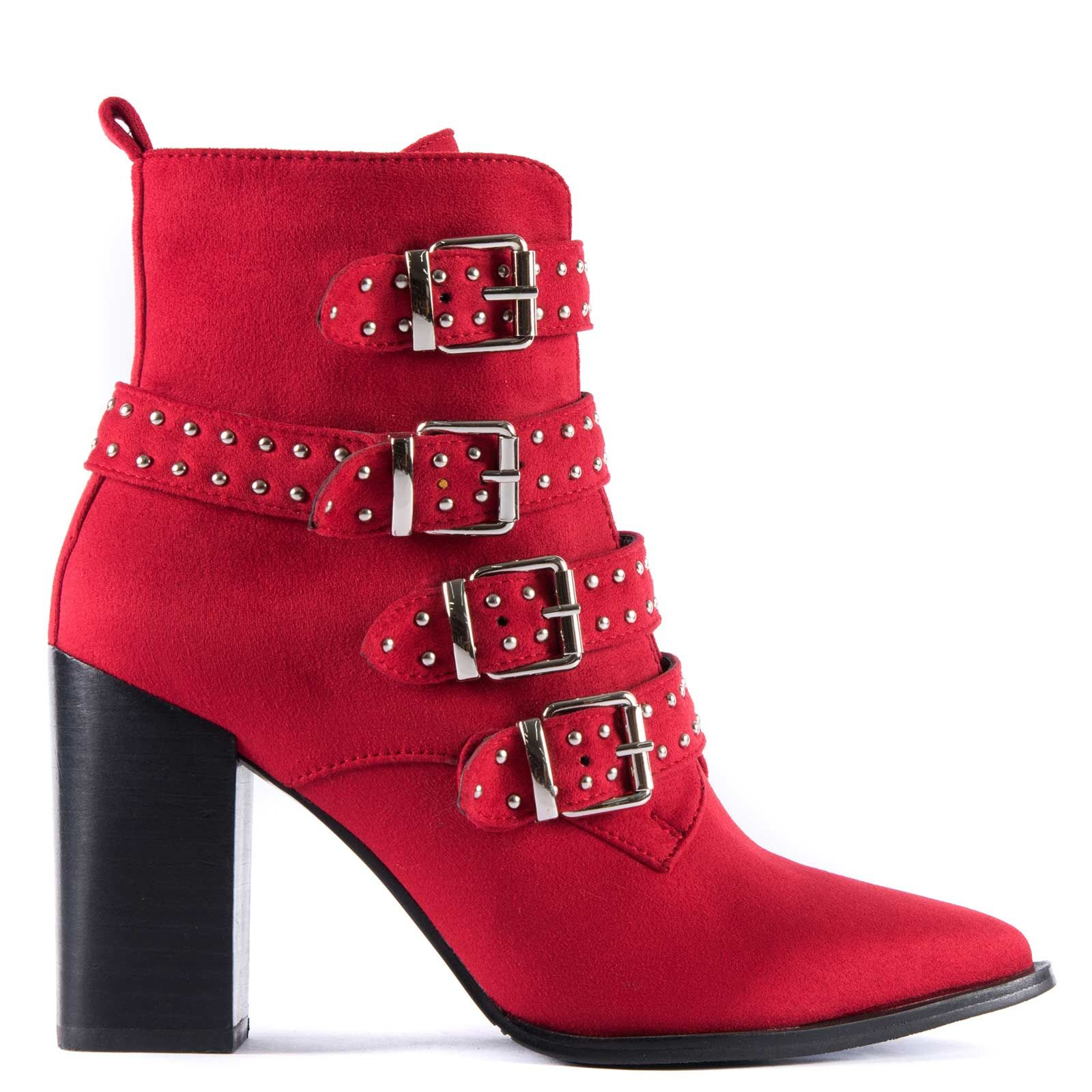 Red western bootie with studs DF5052