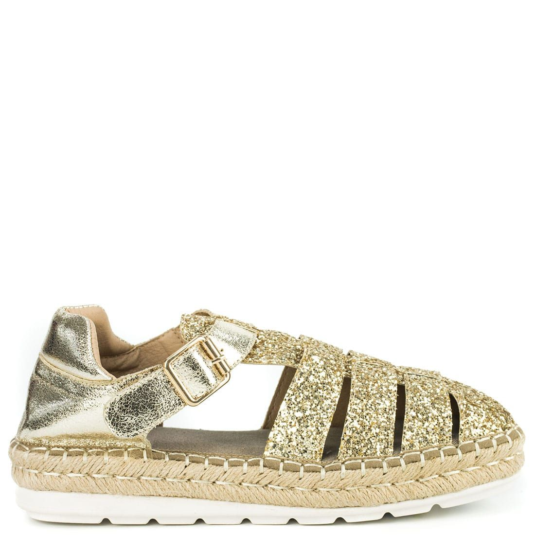 Gold espadrille with glitter KF5077-L18