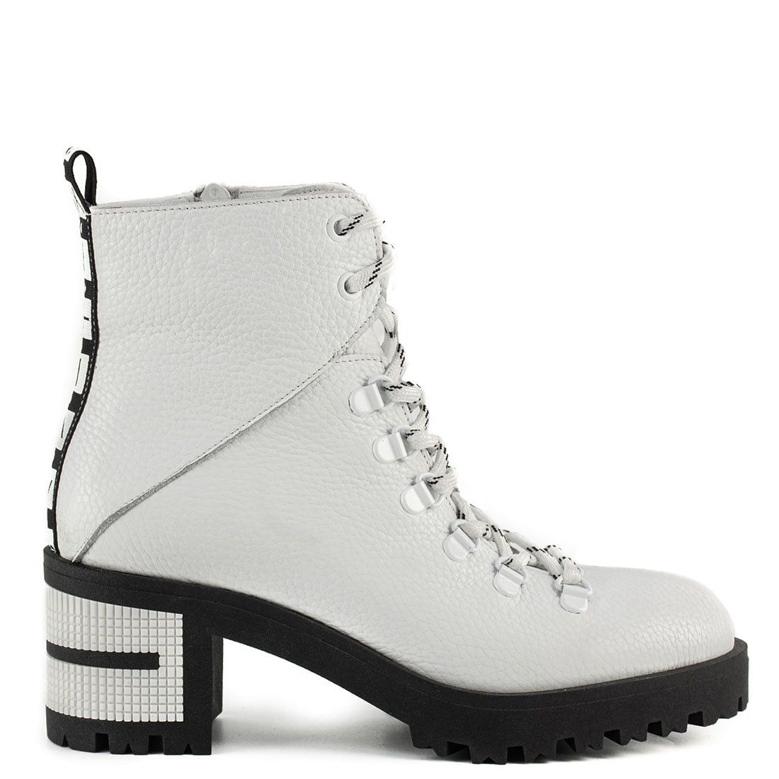 White leather army boot WST2058-L13