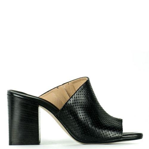 Black leather mule