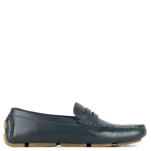 Men's navy leather moccasin