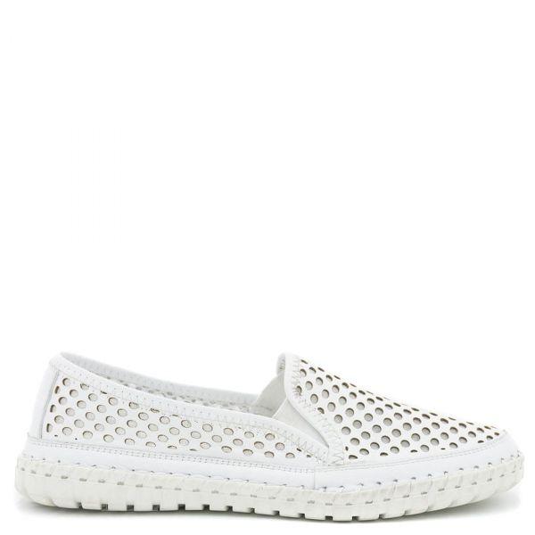 Λευκό δερμάτινο slip-on loafer