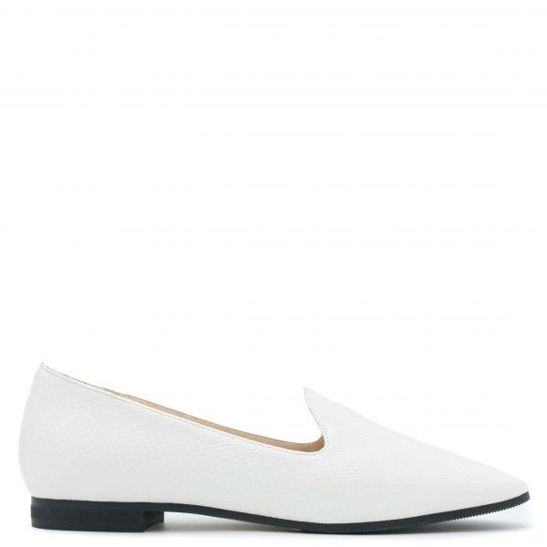 Λευκό snakeskin loafer
